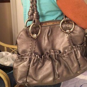 B Makowsky Metallic Silver Shoulder Bag